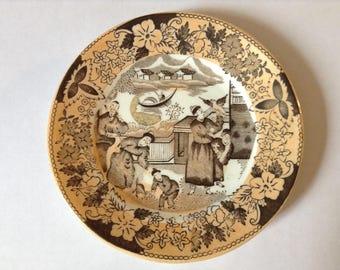 Vintage Chinese Plate, Oriental Porcelain, Brown, Sephia Tone