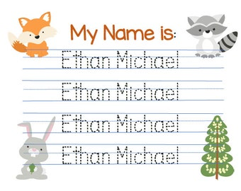 Customizable Woodland theme Name practice