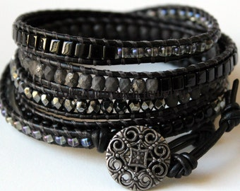 Leather Wrap Bracelet, Black Wrap Bracelet, Wounded Warrior, Leather Beaded Wrap Bracelet, Leather Wrap, Men's Wrap Bracelet, Wrap Bracelet