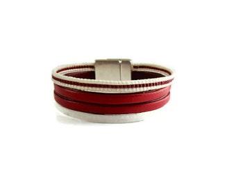 Cuff Bracelet red leather bracelet, bracelet vegan, handmade bracelet