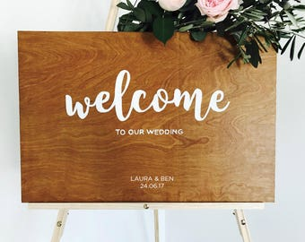 Personalised Wooden Wedding Welcome sign with names and date // bespoke signs // rustic wedding decor // wedding signs // wood signage