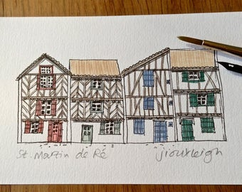 Row of houses, St Martin de Ré, France. Architecture, pen and ink drawing, watercolour