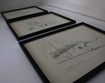 Set of 3 framed vintage prints // Canadian Artist