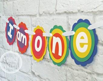 25%OFF I Am One Rainbow Banner ~ Photo Prop ~ Birthday Party Decorations ~ Happy Birthday ~ Rainbow Birthday ~ 1st Birthday Banner ~ High Ch