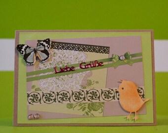 Greeting Card - Loving Greetings - handmade unique piece