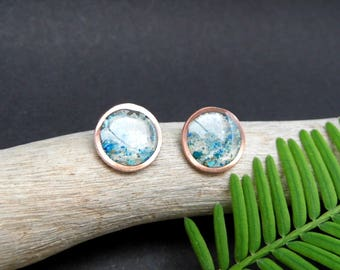 "Circle Earrings in Epoxy Resin and Copper, Blue, Green and White Graphite, ""Rain Drops"", Ethnic and Particular"