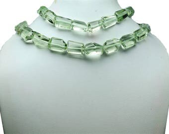AAA quality Natural Green Amethyst Nugget faceted\ 10 inch strand approx \8.0-10.0 mm