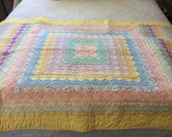 Crib quilt / bed topper / 1930s-40s fabric / hand pieced / hand quilted / 1 inch pastel squares