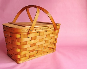 Large Vintage Wood Picnic Basket - LOCAL PICKUP ONLY