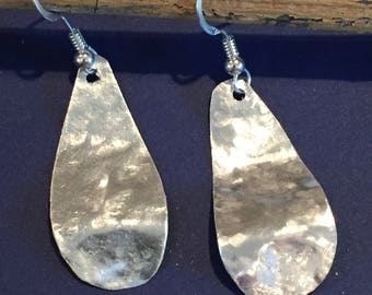 Handmade Hammered Sterling Silver Dangle Earrings