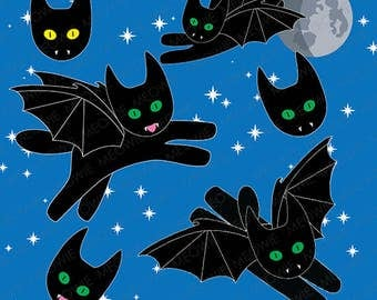 Bat Kitty cute digital clip art cat