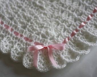 Crochet Baby Blanket / Afghan White Christening, Baptism, Baby Granny Square Crochet Blanket, Baby Shower Gift