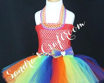 Rainbow Fairy Crochet Top Tutu Dress sizes 12m 18m 2t 3t 4t 5