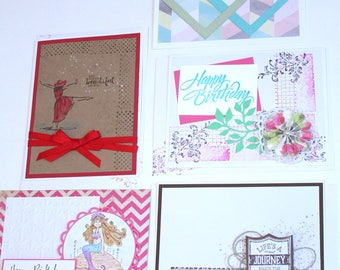 Handmade BIRTHDAY GREETING CARDS New Set of 5 - Stampin Up