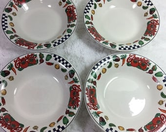 "Campbell's Soup Bowls / Set of 4 / Gibson Housewares / 1997 / Campbell Soup Company / 8"" across / 1 3/4"" deep / kitchen and dining"