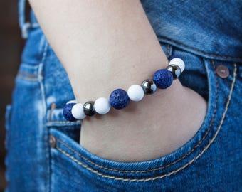 Womens Beaded Bracelet Blue White Black Bracelet Hematite Bracelet White Jade Beads Sister Bracelet Lava Rock Bracelet Feminine Bracelet Her