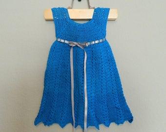 Turquoise Handmade Crochet Baby Dress