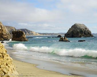 California Beach Wall Art Print -- Fine Art landscape photography, California, Ocean, Waves, Mountains, Home Decor, by HeatherRobersonPhoto