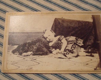 Civil War period CDV image photograph of young girl resting on her dog - Absolutely great image!