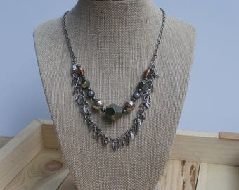 Beaded Feather Chain Necklace