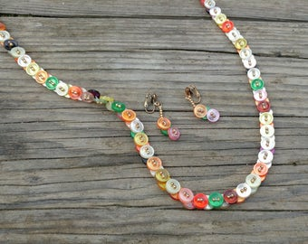 Vintage 60s Necklace Earring Set Made of Buttons // Colorful Retro Necklace