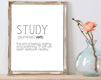 study definition / study gifts / college student poster / dorm wall decor / college student gift / funny definition / student