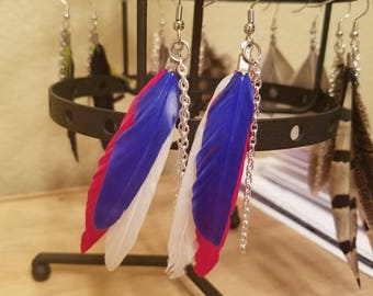 Red, White and Blue Feather Earrings