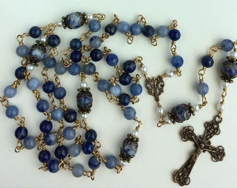 Wonderful Heirloom, Unbreakable, Wire-wrapped  6mm and 8mm Blue Gemstone St Teresa of Calcutta Rosary with Bronze Crucifix.  Free Shipping!