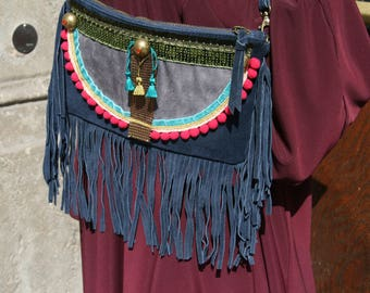 Bag pouch leather ethnic fringe hippie chic
