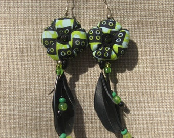 Feathers and Wax earrings