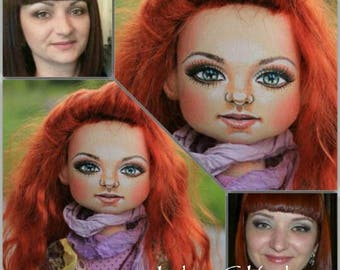 Textile doll redhead textile doll and interior doll fabric doll portrait doll cloth textile doll текстильная кукла selfy doll portrait doll