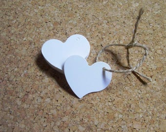 20 white heart tags Favor tag weding decoration Handmade gift card
