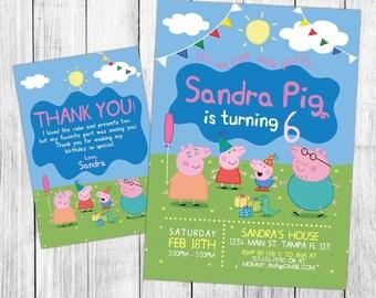 Peppa Pig Invitation, Peppa Pig Birthday, Peppa Pig Invites, Peppa Pig Party, Peppa Pig Printable, Custom, FREE 4x6 Thank You Card
