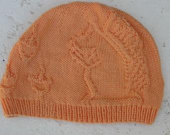 Squirrel and Acorn Hat - orange