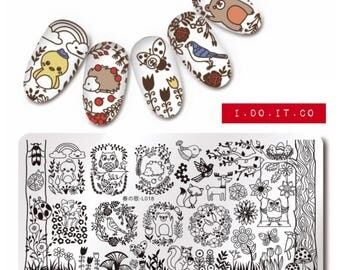Nail Art Stamping Plates Spring Nature Forest Animal Pattern Image