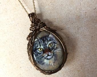 Storm Grey Kitty, Grey Tabby Cat Necklace, Hand-painted Jasper Stone Pendant