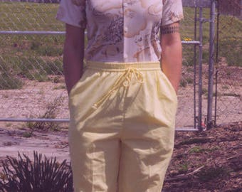 Vintage Yellow Linen Pant Fits size 0+ Tapered Cuff