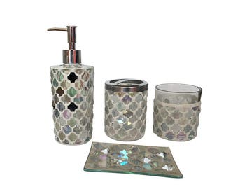 4-Piece Mosaic Glass Luxury Bathroom Gift Set, Includes Soap Dispenser, Toothbrush Holder, Tumbler & Soap Dish (White)