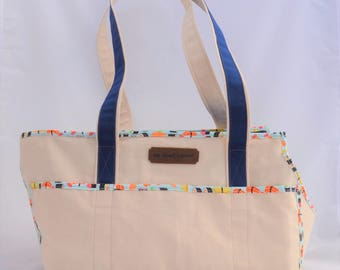 Natural/Navy Blue/Sushi Carrier Tote