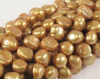 9-10 mm Gold Champagne Freshwater Pearl Nugget Beads, Cultered Pearl Beads, Genuine Natural Nugget Pearl, Gold Nuggets (125-NGD0910)