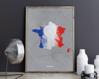 France Art France Wall Art France Wall Decor France Photo France Print France Poster France Map Country Map Watercolor Map Country Map Print