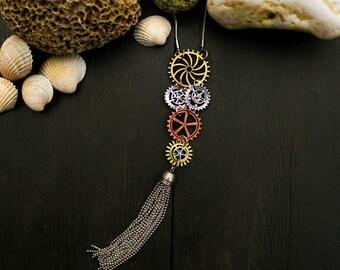Clock wheels tassel necklace