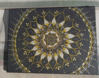 Black silver gold henna painting