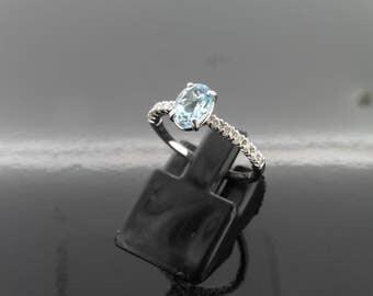 0.80ct aqua marine and diamond ring