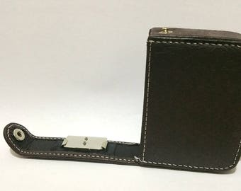 1x Small Leather Suede Case Brown DIY 20mm x 55mm x 75mm