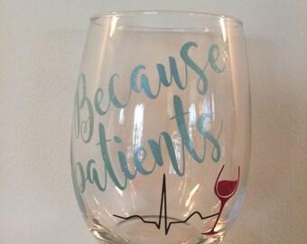 Set of 4 stemless wine glasses