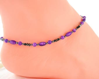 Boho bead anklet, girlfriend gift