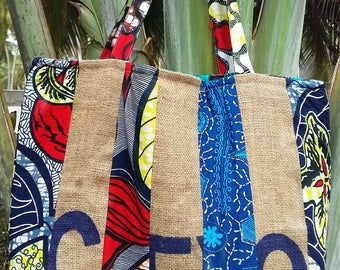 Jute and loincloth tote bag
