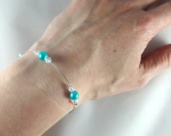 Bracelet Loane pearls Crystal and turquoise - customizable