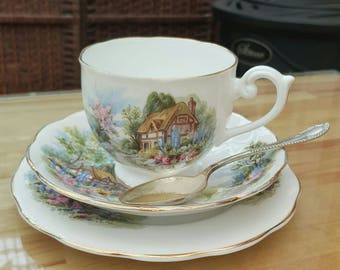 Beautiful Queen Anne cottage scene teacup trio